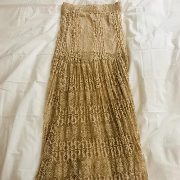 Dresses & Skirts - High waist nude lace skirt